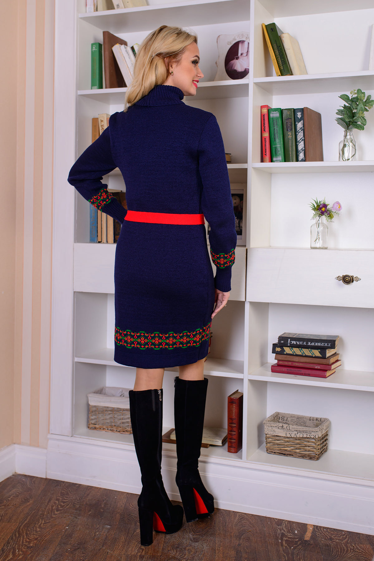 Платье Венок АРТ. 7618 Цвет: Тёмно-синий - фото 3, интернет магазин tm-modus.ru