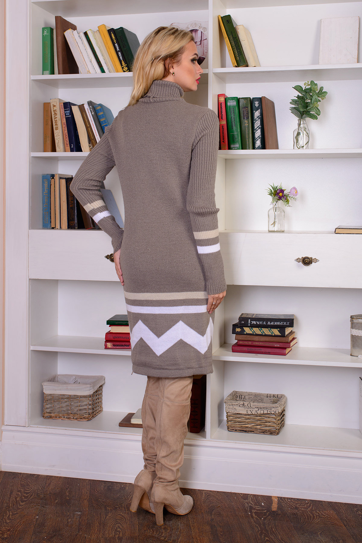 Платье Диамант АРТ. 7567 Цвет: Капучино/белый - фото 3, интернет магазин tm-modus.ru