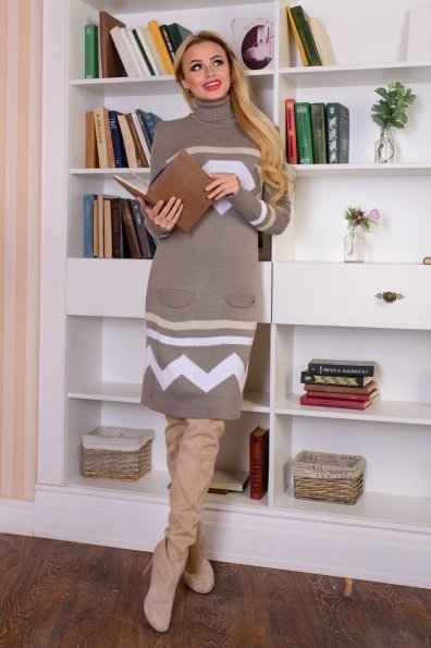 Платье Диамант Цвет: Капучино/белый