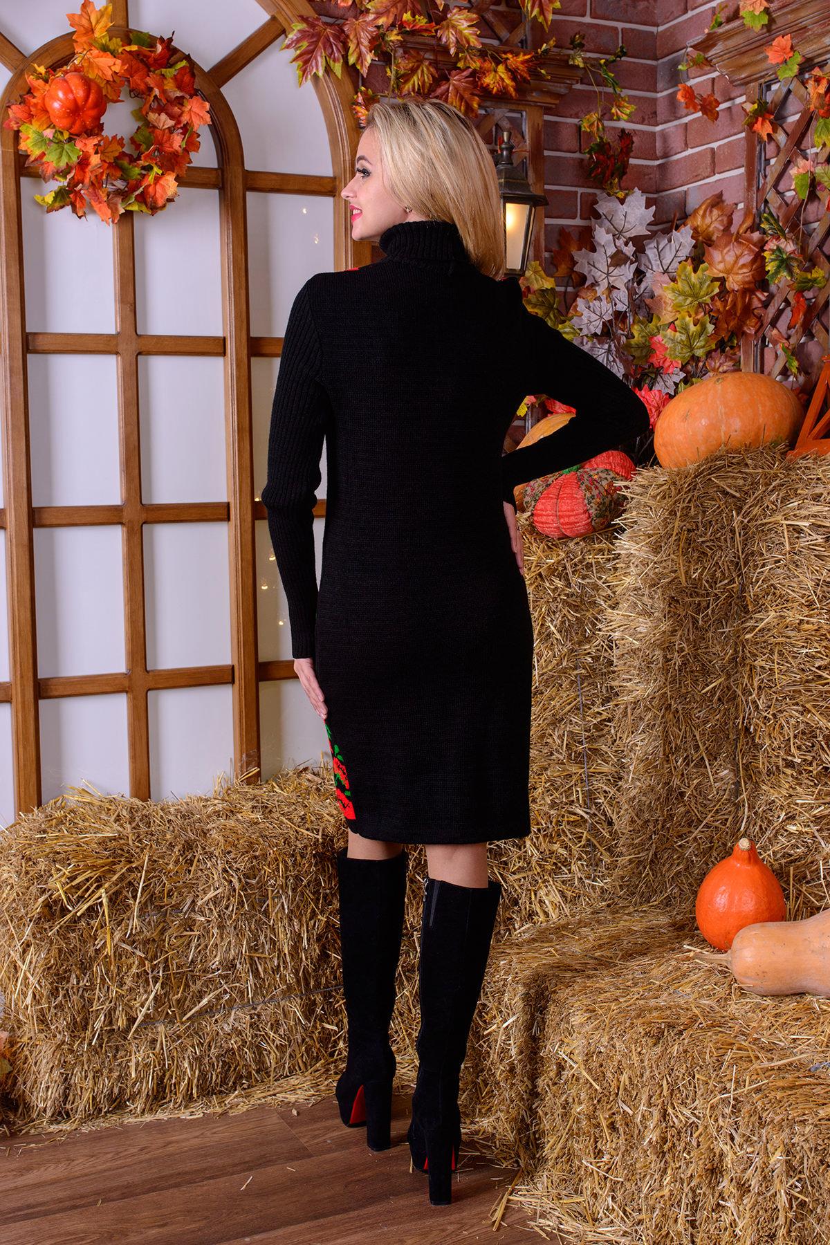 Платье Маки АРТ. 7594 Цвет: Черный/красный/зеленый - фото 3, интернет магазин tm-modus.ru