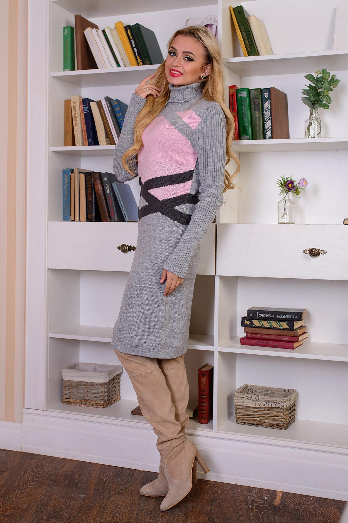 Платье Катерина АРТ. 7576 Цвет: Серый/розовый - фото 2, интернет магазин tm-modus.ru