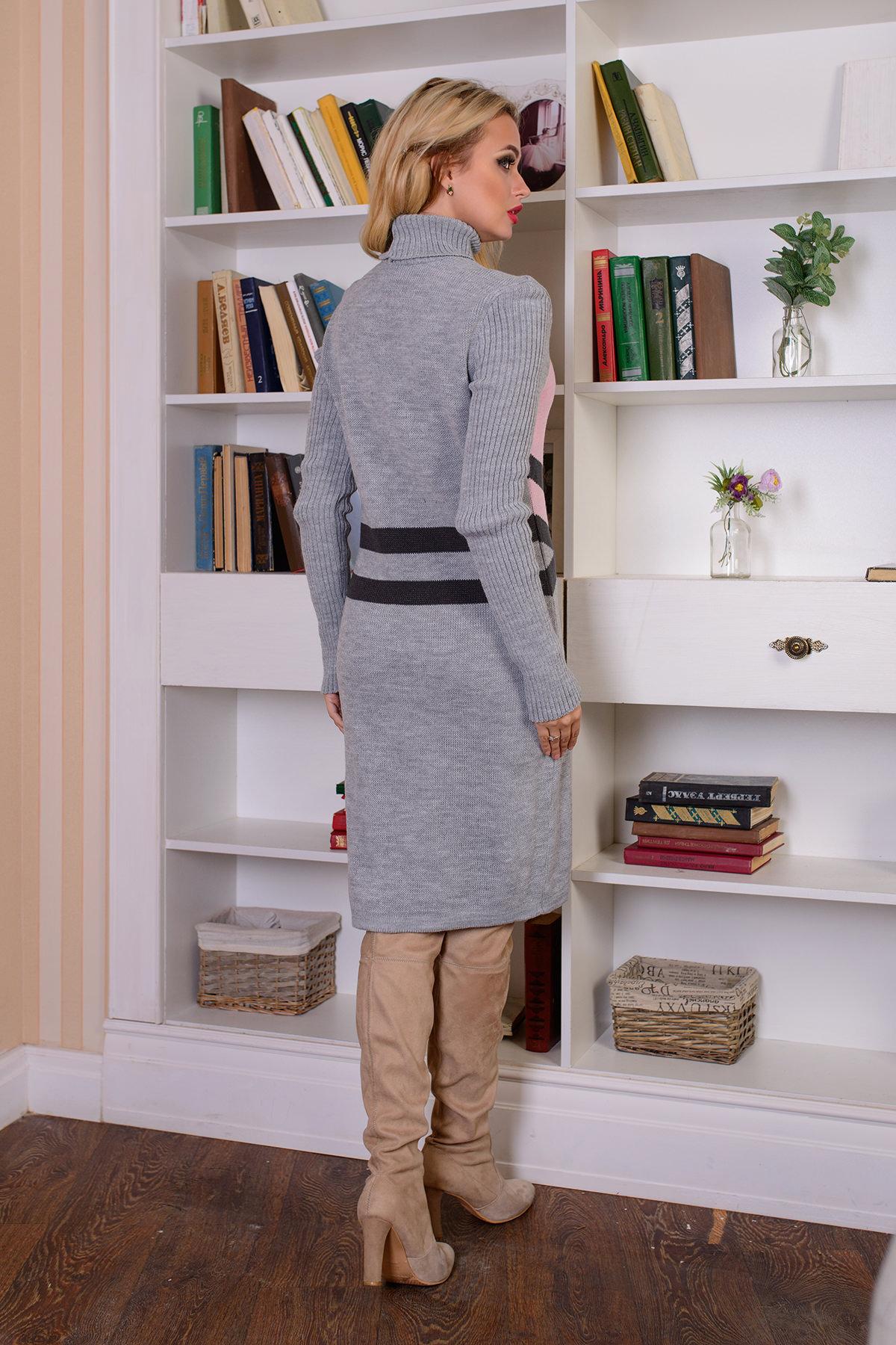 Платье Катерина АРТ. 7576 Цвет: Серый/розовый - фото 3, интернет магазин tm-modus.ru