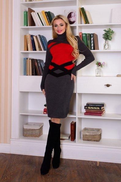 Платье Катерина Цвет: Серый/красный