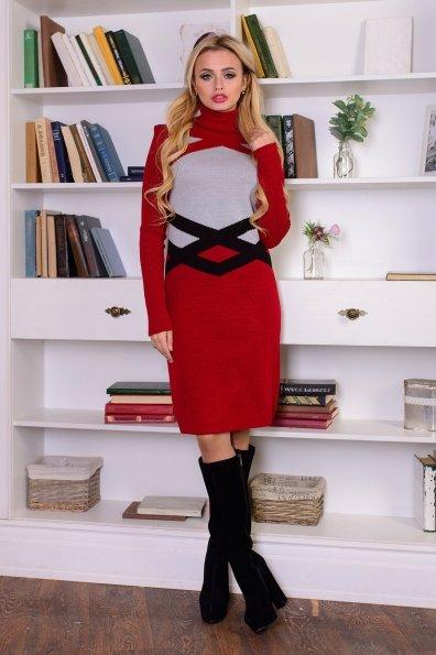 Платье Катерина Цвет: Бордо/серый