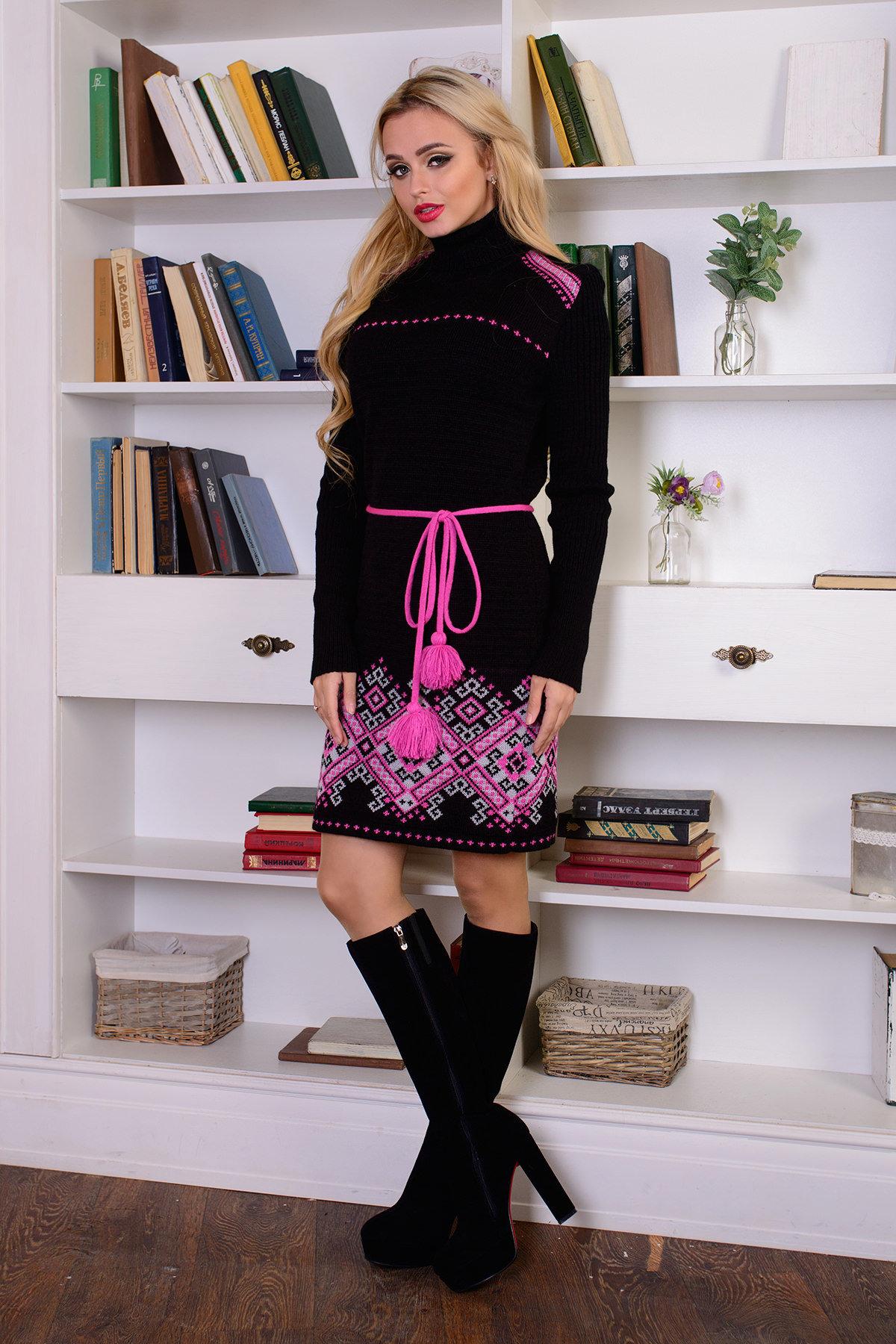 Платье Иванка АРТ. 7605 Цвет: Черный/малина/белый - фото 2, интернет магазин tm-modus.ru
