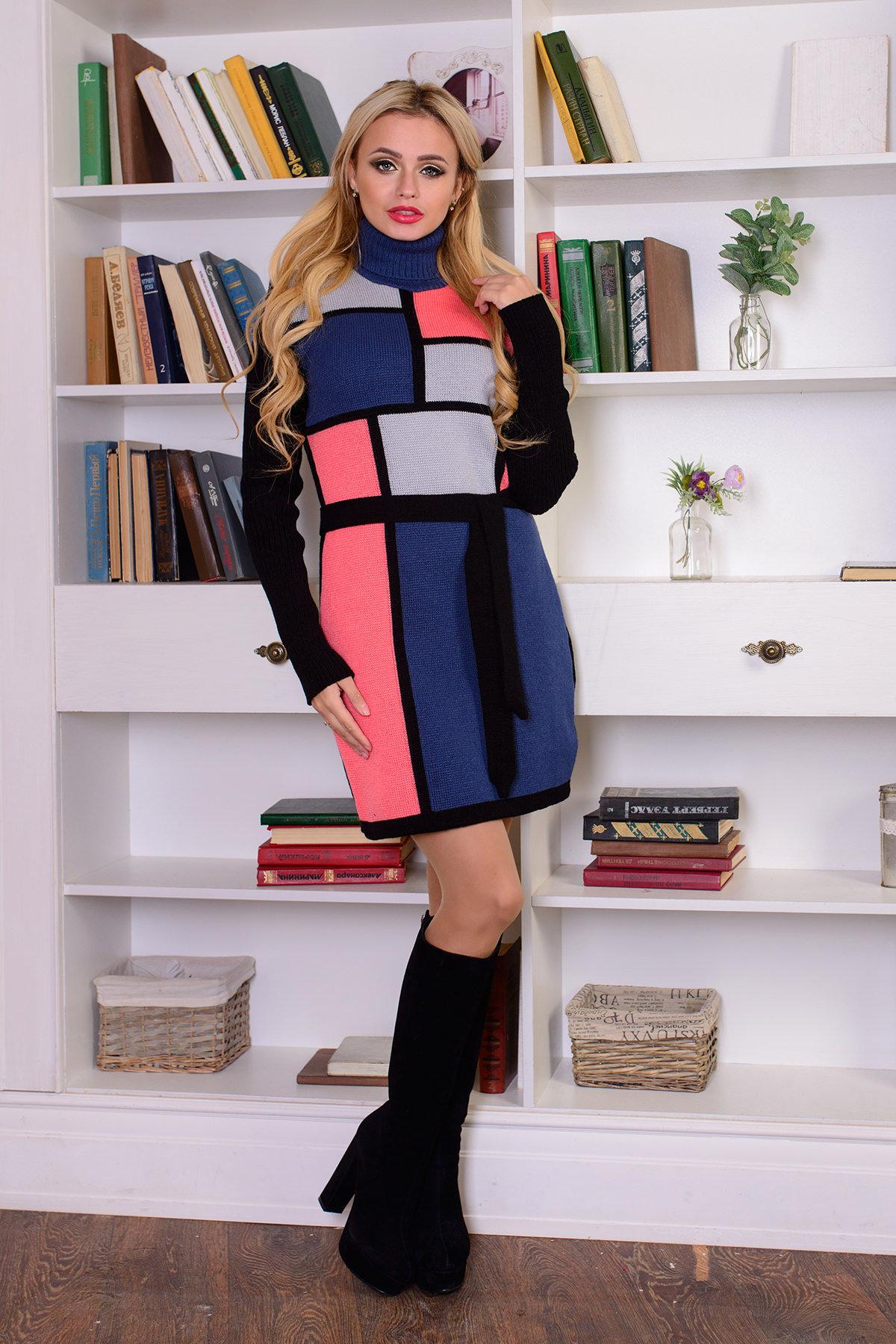 Платье Кубики Цвет: Черный/лазурь/серый/розовый