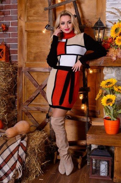 Платье Кубики Цвет: Черный/терракот/бежевый/белый