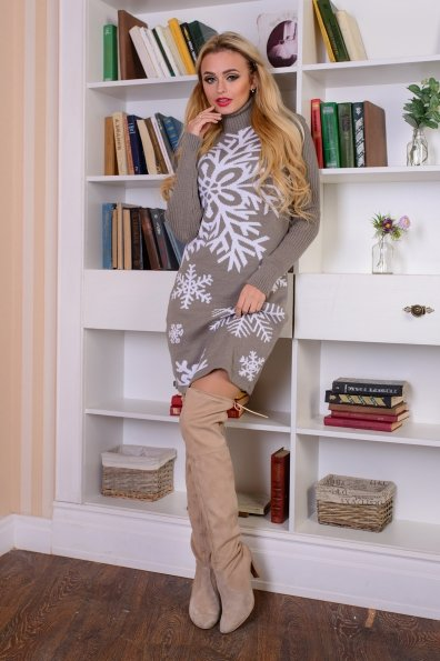Платье Снежинка  Цвет: Капучино/белый