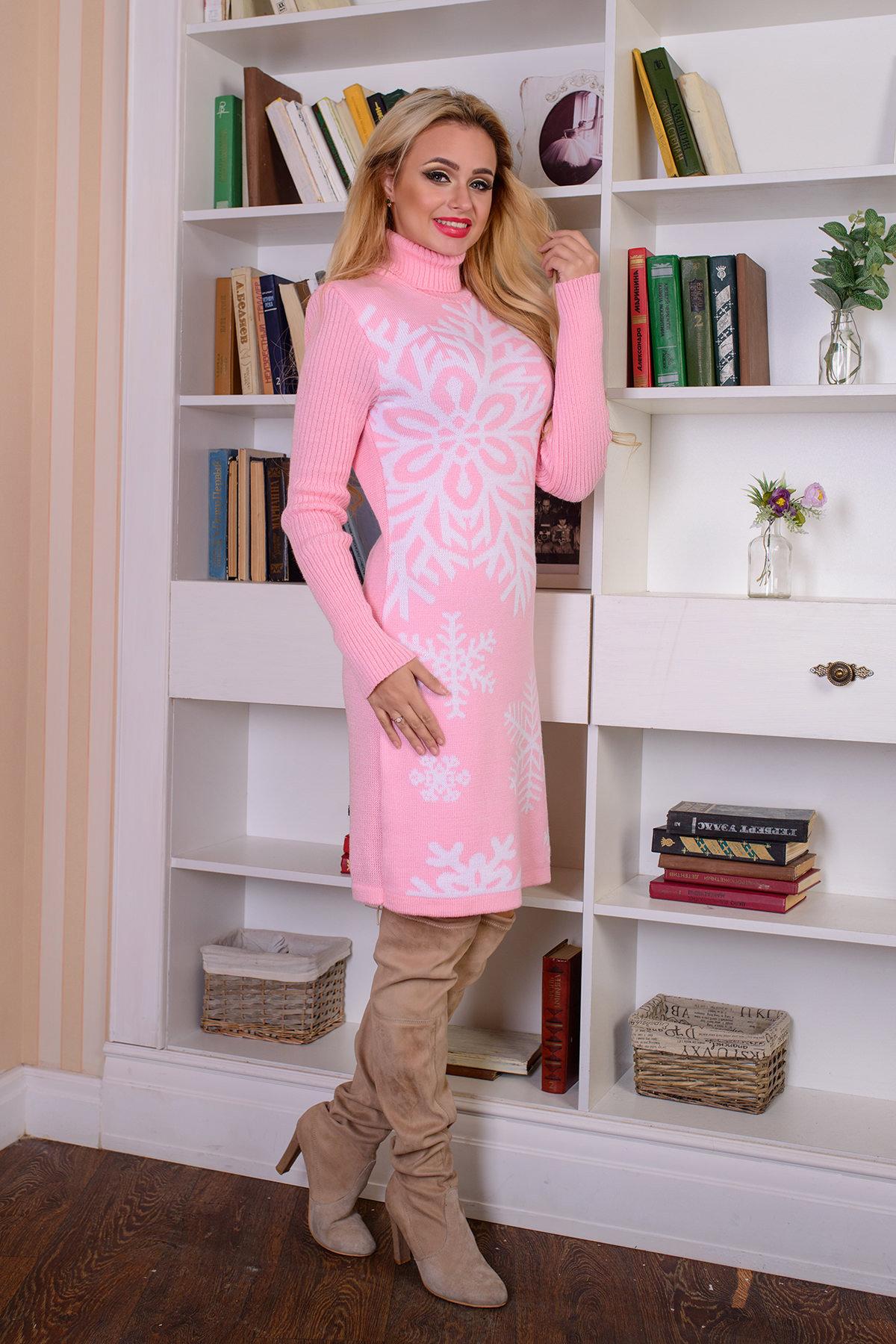 Платье Снежинка  АРТ. 7583 Цвет: Светло-розовый/белый - фото 2, интернет магазин tm-modus.ru