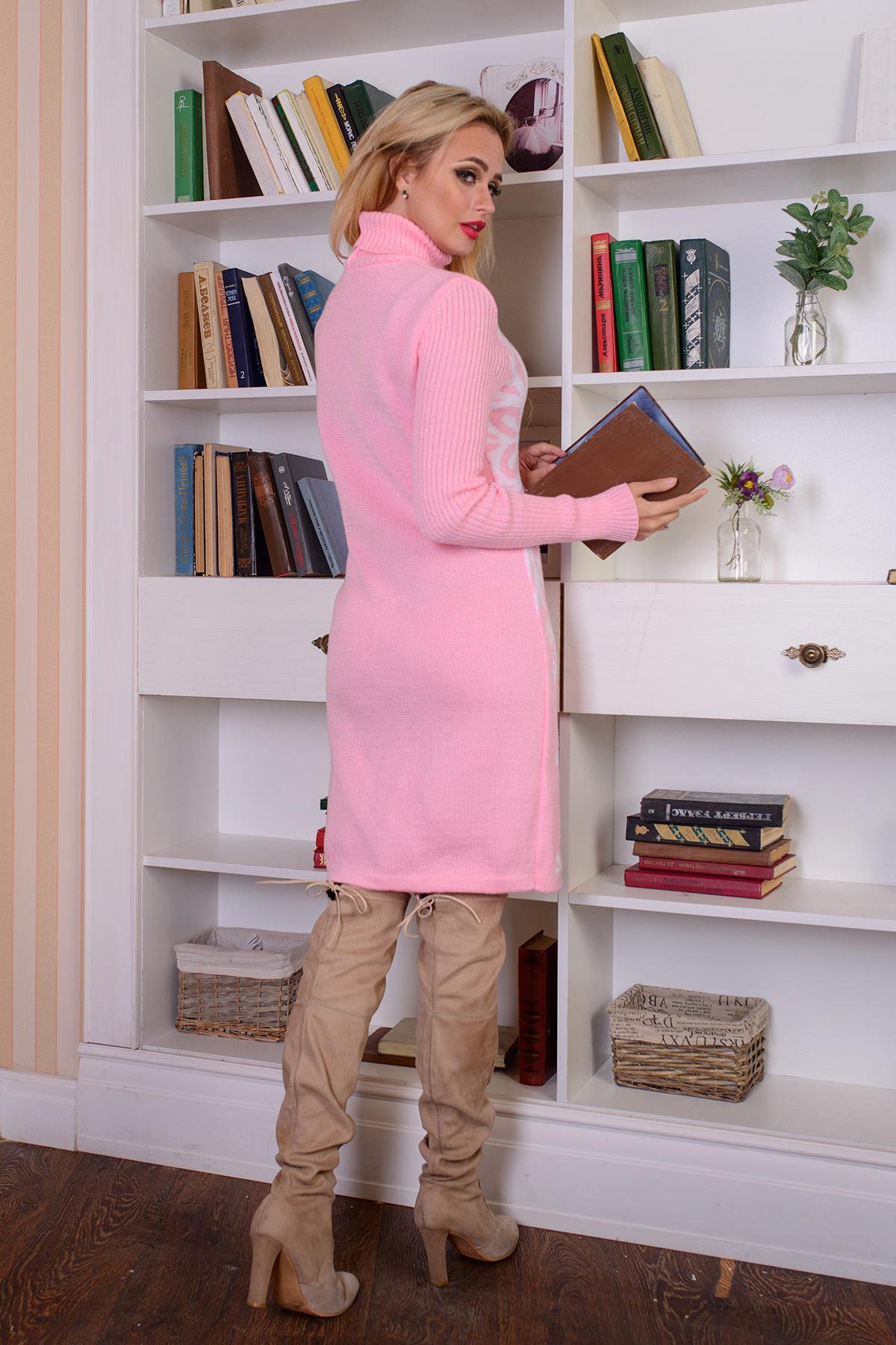 Платье Снежинка  АРТ. 7583 Цвет: Светло-розовый/белый - фото 3, интернет магазин tm-modus.ru