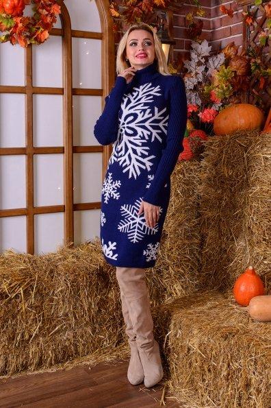 Платье Снежинка  Цвет: Тёмно-синий/белый