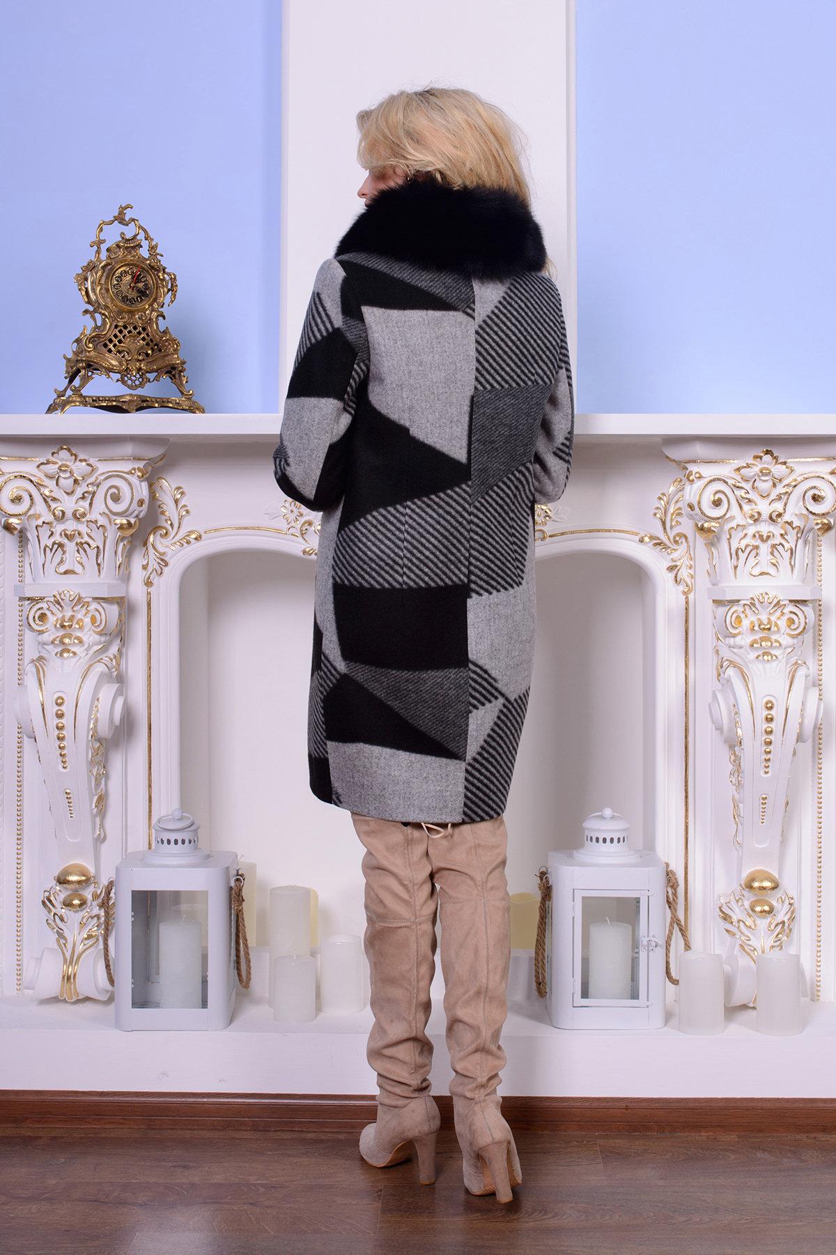 Пальто Микадо 0567 АРТ. 7501 Цвет: Черный/серый Буквы Д5/С1 - фото 3, интернет магазин tm-modus.ru