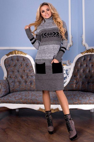 Платье Мулине  Цвет: Серый/черный