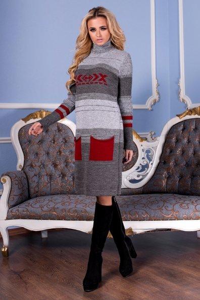 Платье Мулине  Цвет: Серый/Вишня
