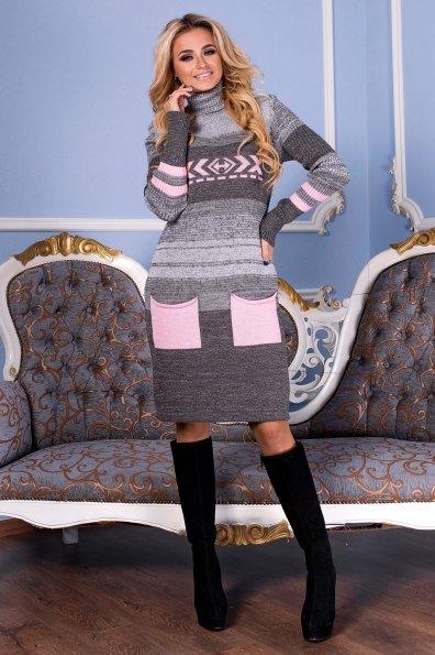 Платье Мулине  Цвет: Серый/розовый