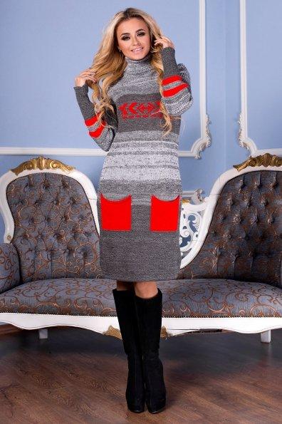 Платье Мулине  Цвет: Серый/Алый