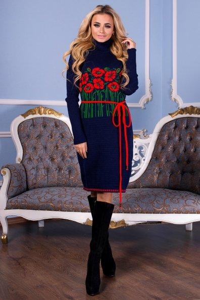 Платье Бамбук Цвет: Синий/Алый