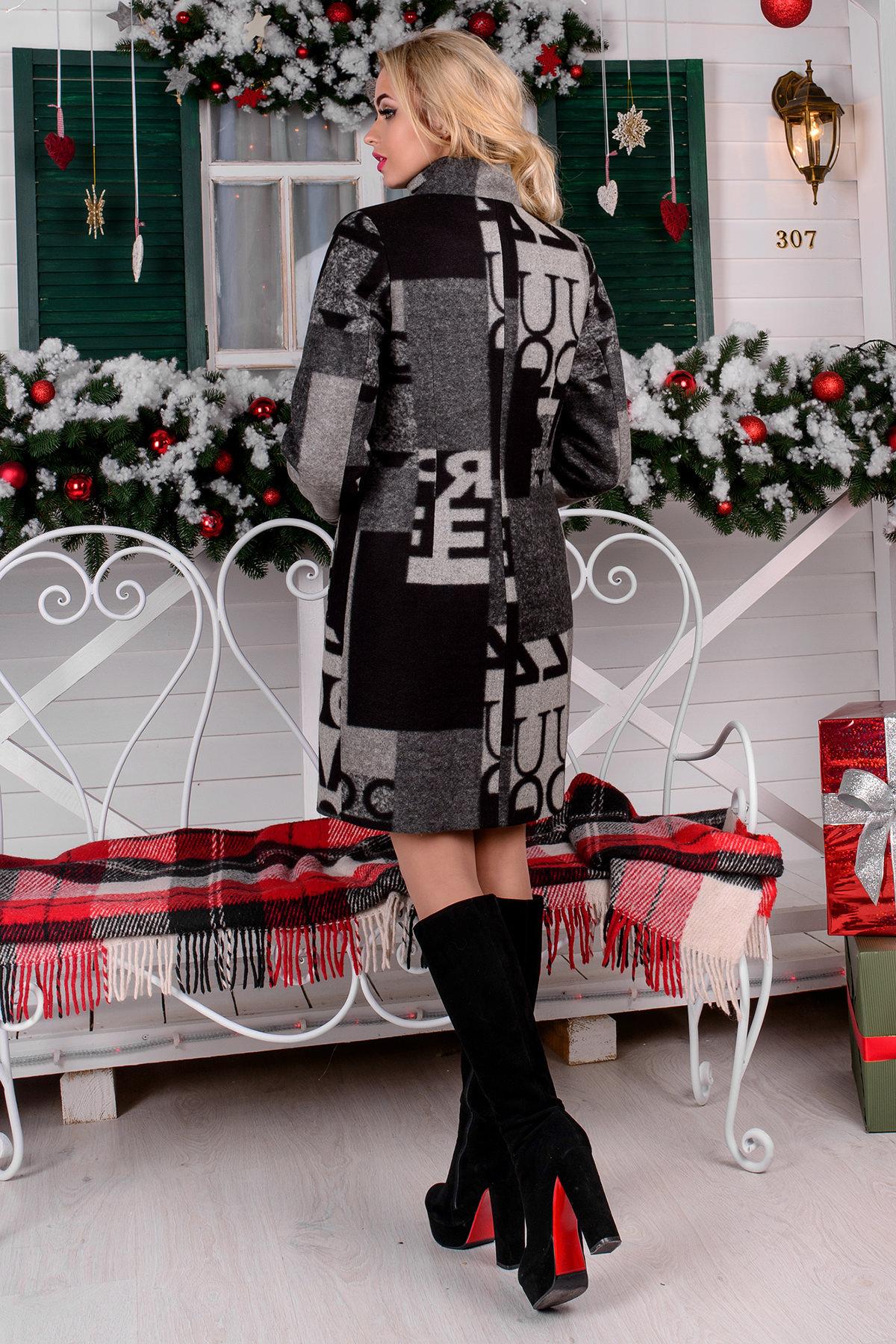 Пальто зима Фортуна 0877 АРТ. 8061 Цвет: Черный/серый буквы Д5/С1 - фото 4, интернет магазин tm-modus.ru