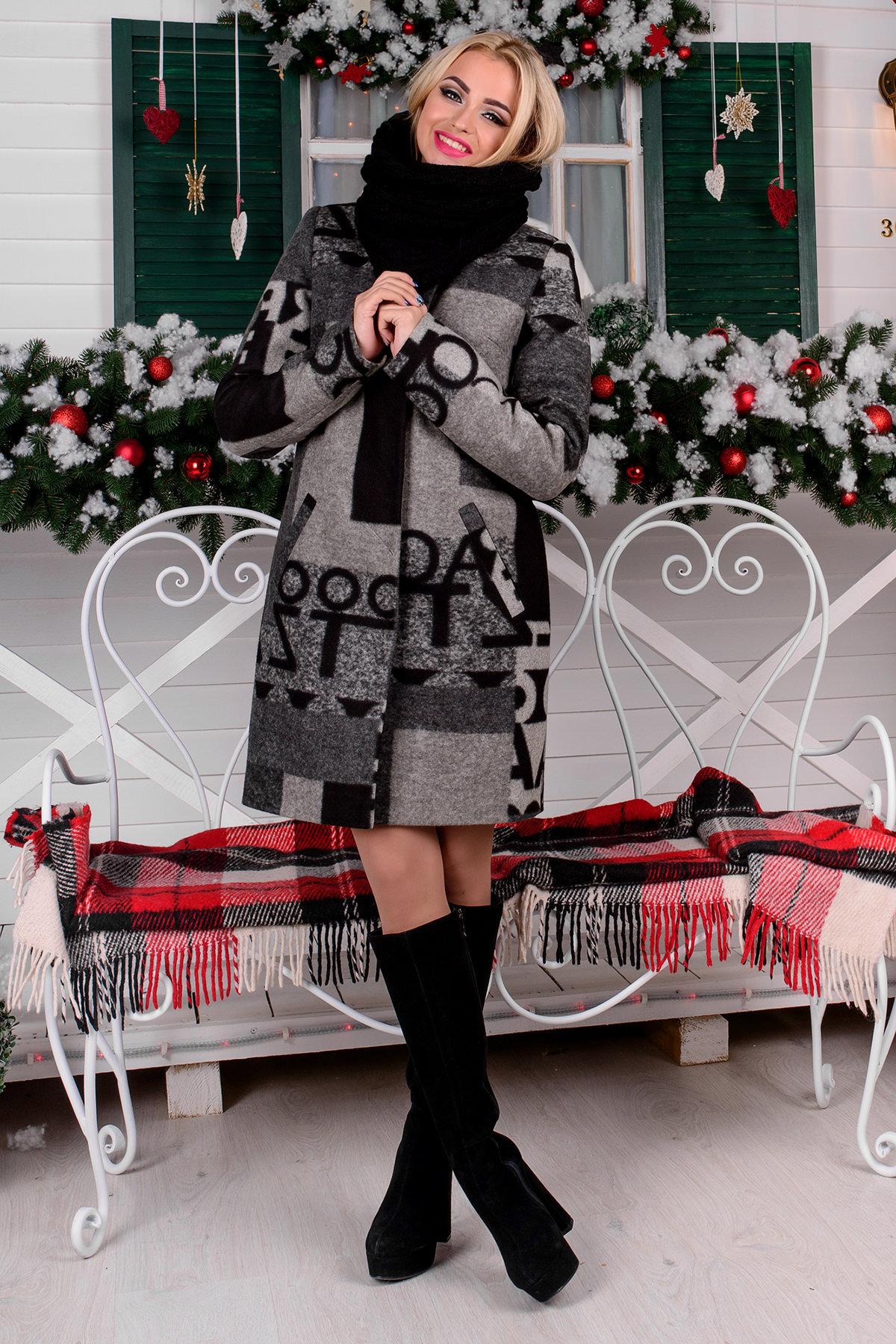 Пальто зима Фортуна 0877 АРТ. 8061 Цвет: Черный/серый буквы Д5/С1 - фото 3, интернет магазин tm-modus.ru