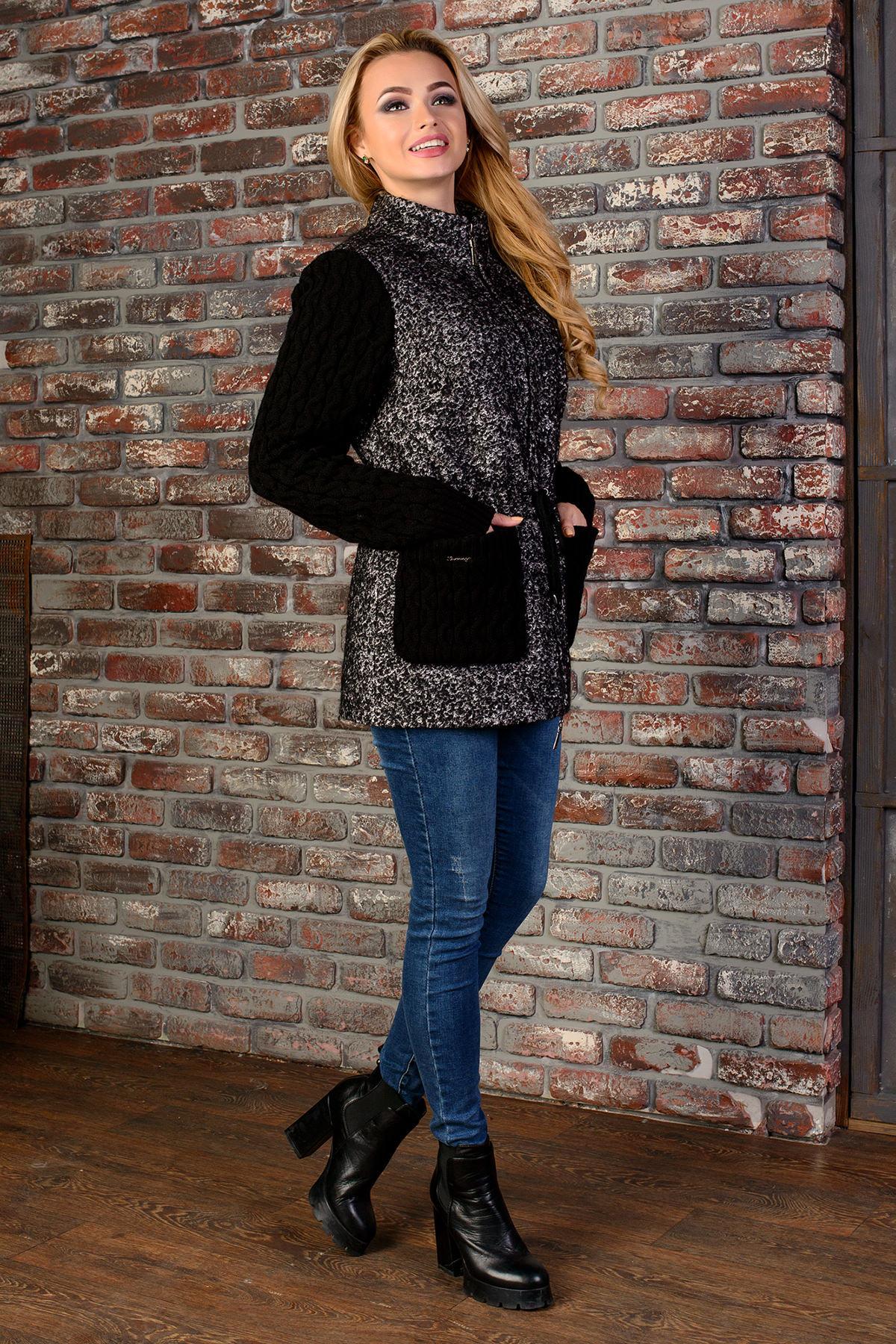 Пальто Старк 1091 АРТ. 9048 Цвет: Чёрно-серый / Черный - фото 2, интернет магазин tm-modus.ru