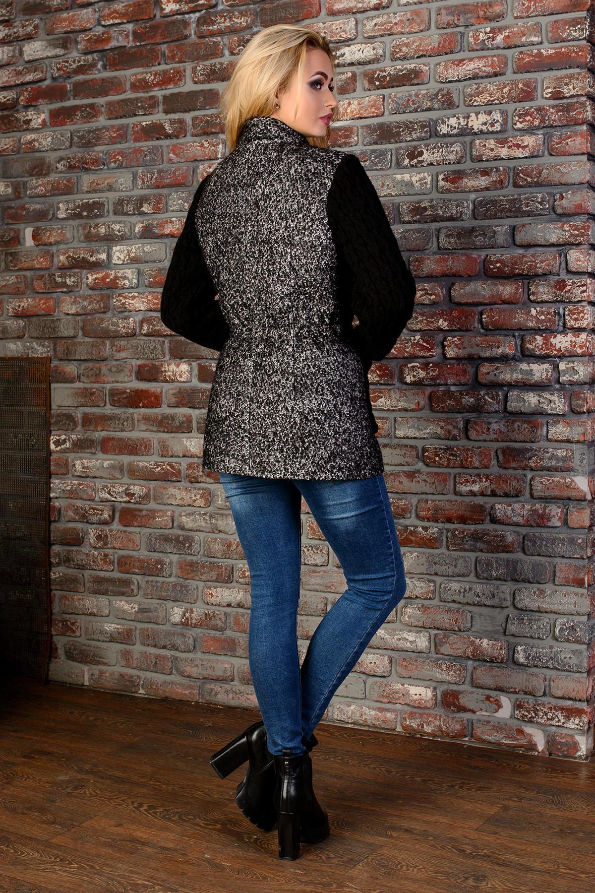 Пальто Старк 1091 Цвет: Чёрно-серый / Черный