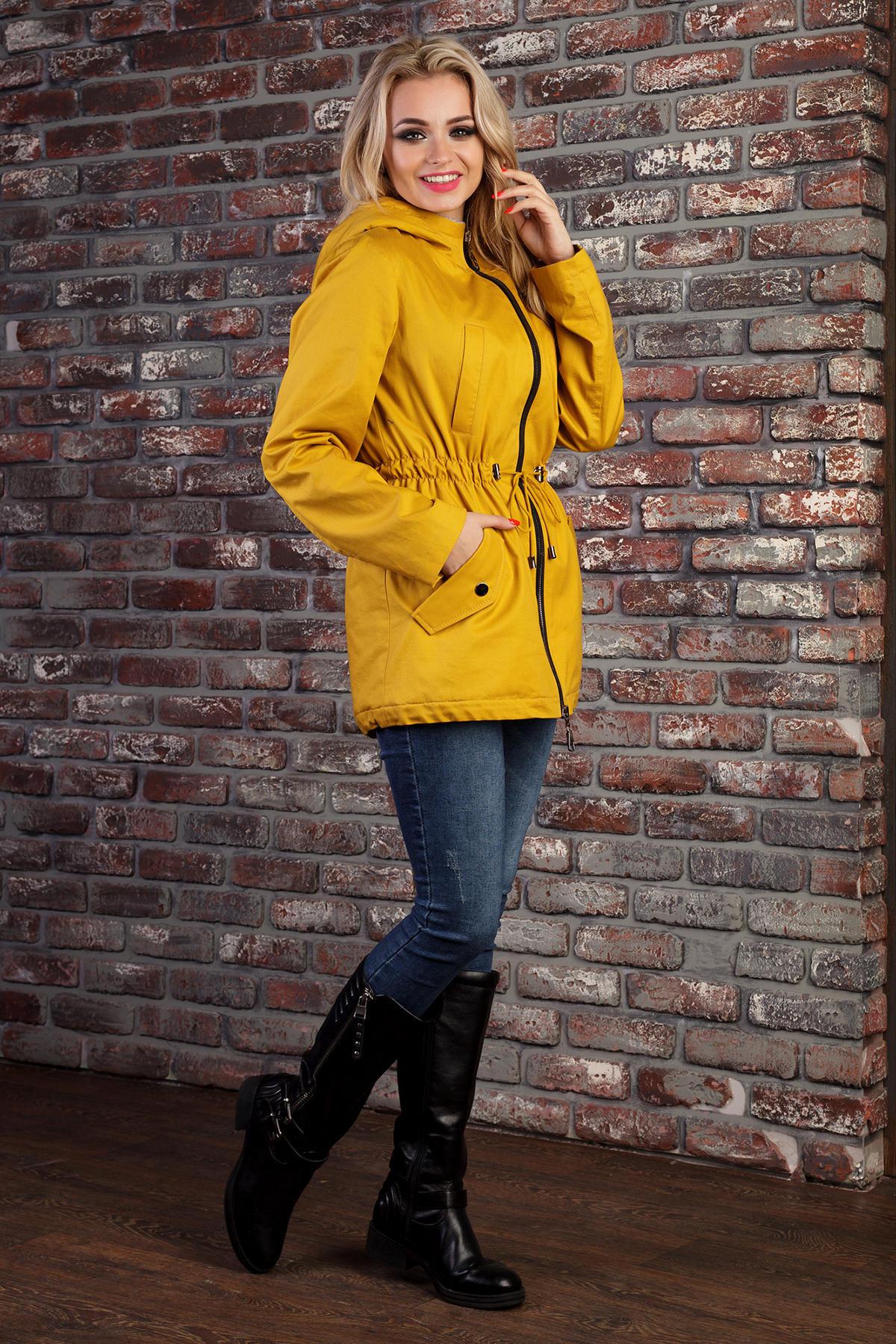 Парка весна-осень Салем 1465 АРТ. 9064 Цвет: Горчица/серый - фото 2, интернет магазин tm-modus.ru