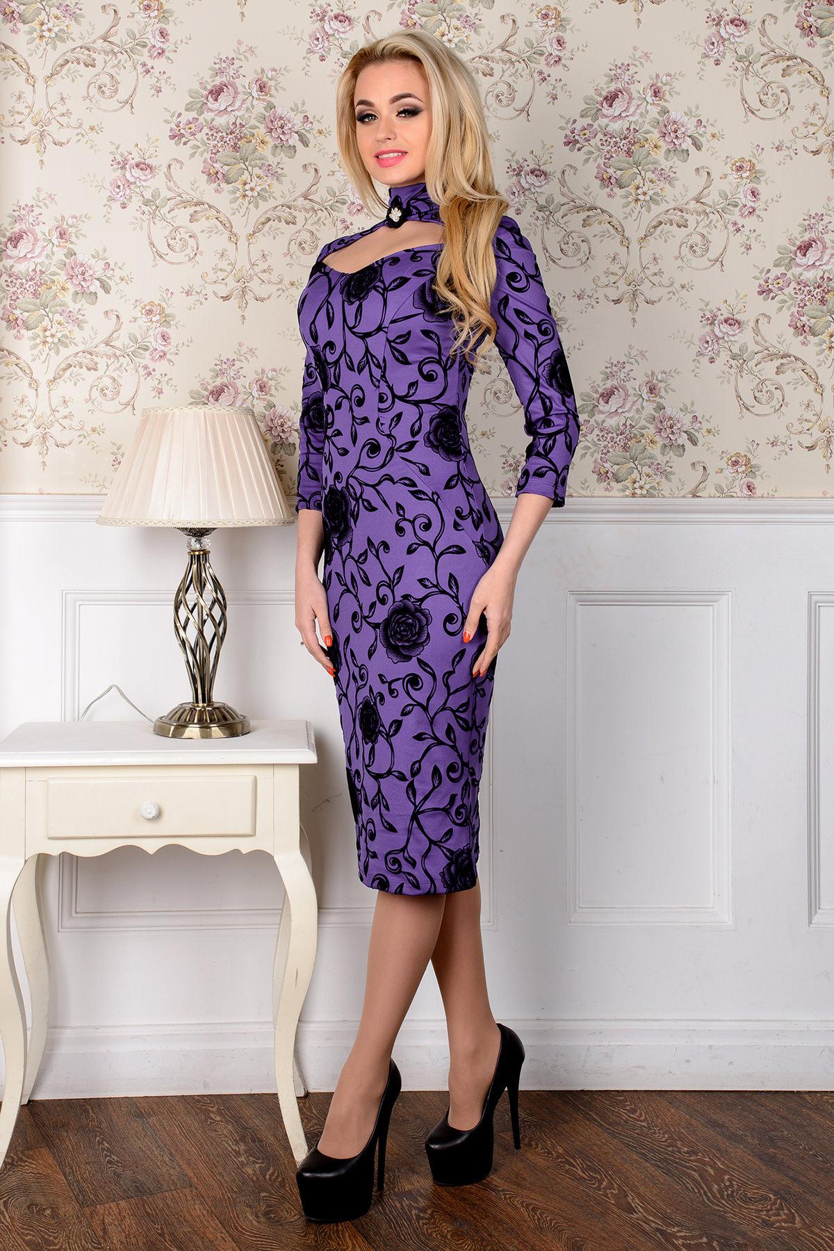 Платье Шамбор 1362  АРТ. 8868 Цвет: Фиолет Розы черн 5 - фото 2, интернет магазин tm-modus.ru