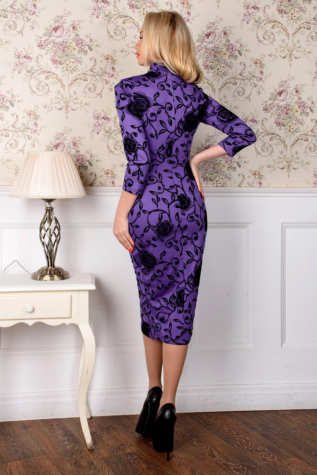 Платье Шамбор 1362  АРТ. 8868 Цвет: Фиолет Розы черн 5 - фото 3, интернет магазин tm-modus.ru