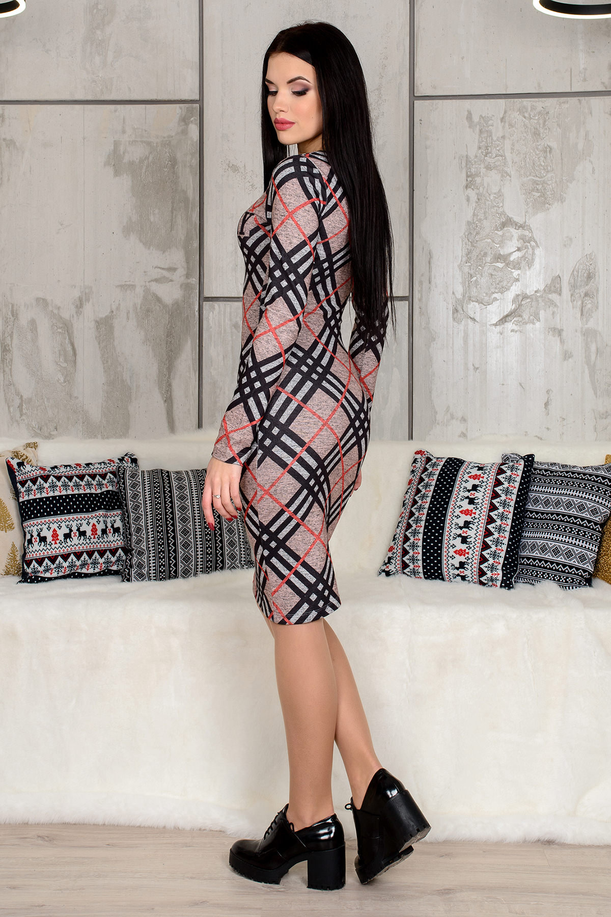 Платье 4183 АРТ. 9257 Цвет: Серый / черный - фото 3, интернет магазин tm-modus.ru