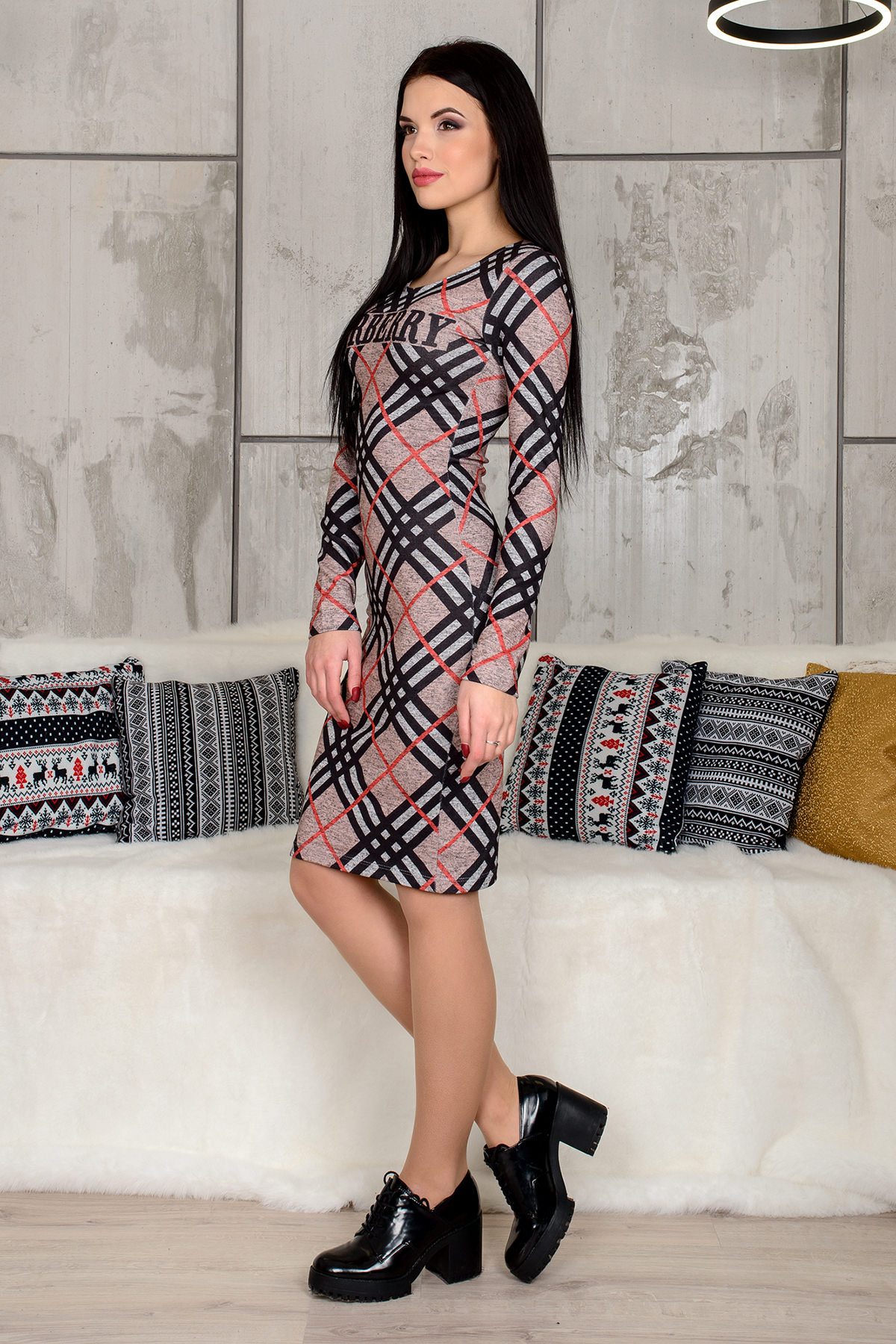 Платье 4183 АРТ. 9257 Цвет: Серый / черный - фото 2, интернет магазин tm-modus.ru
