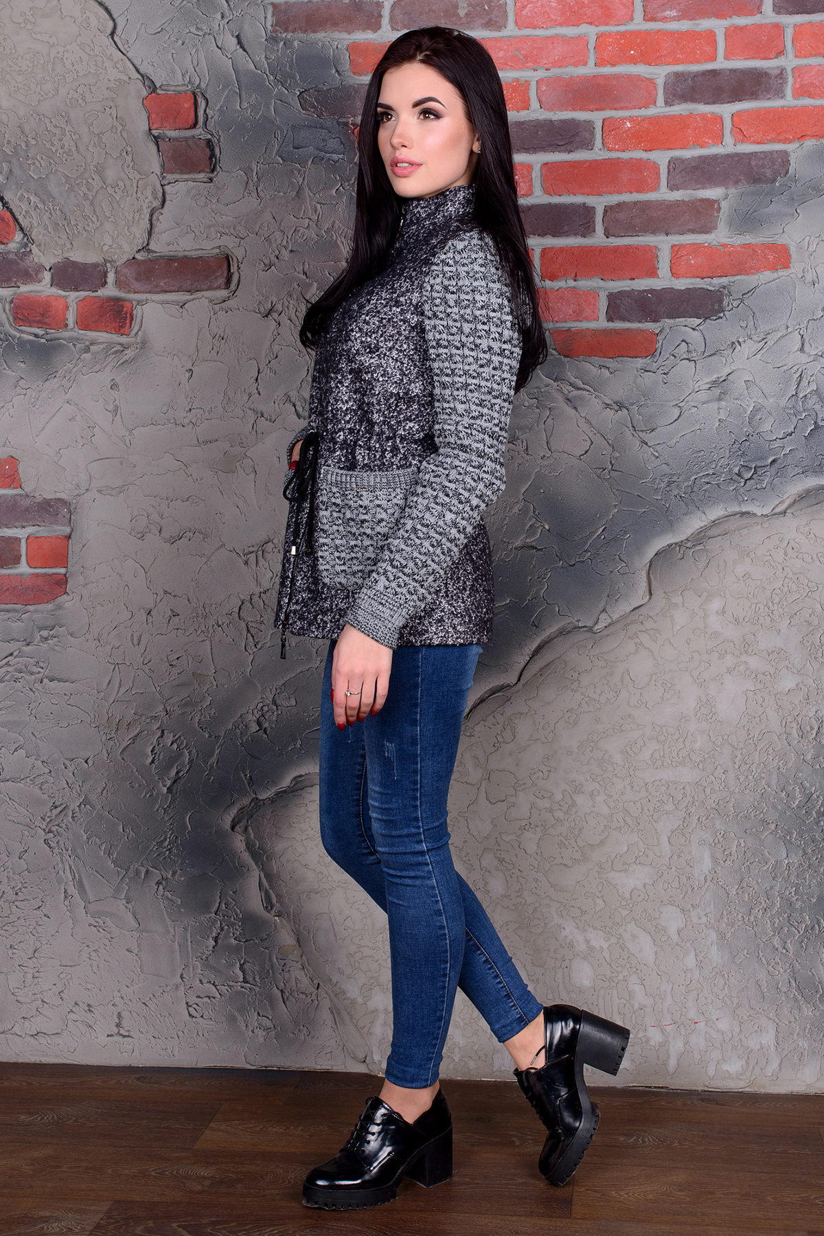Пальто Старк 1091 Цвет: Тёмно-серый / белый