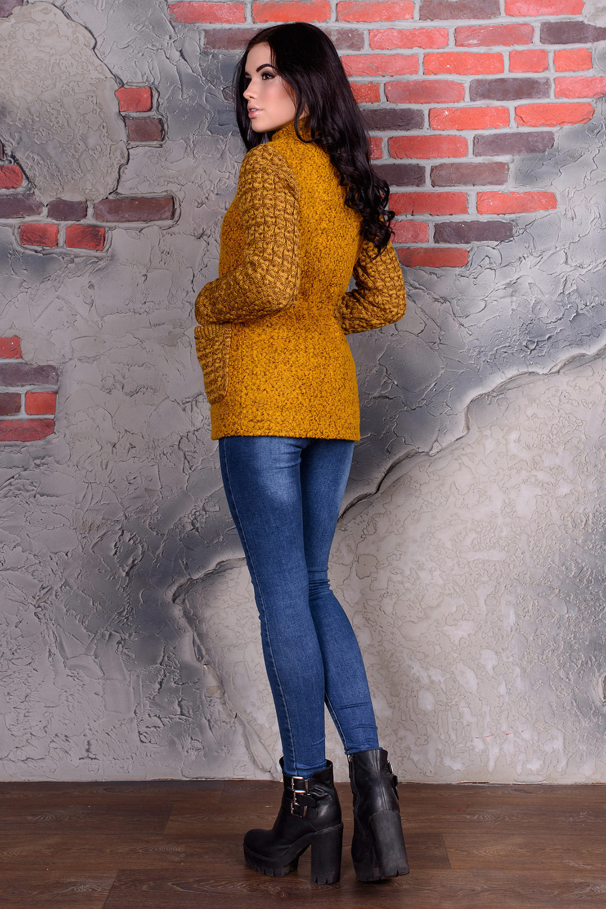 Пальто Старк 1091 АРТ. 9052 Цвет: Горчица - фото 3, интернет магазин tm-modus.ru