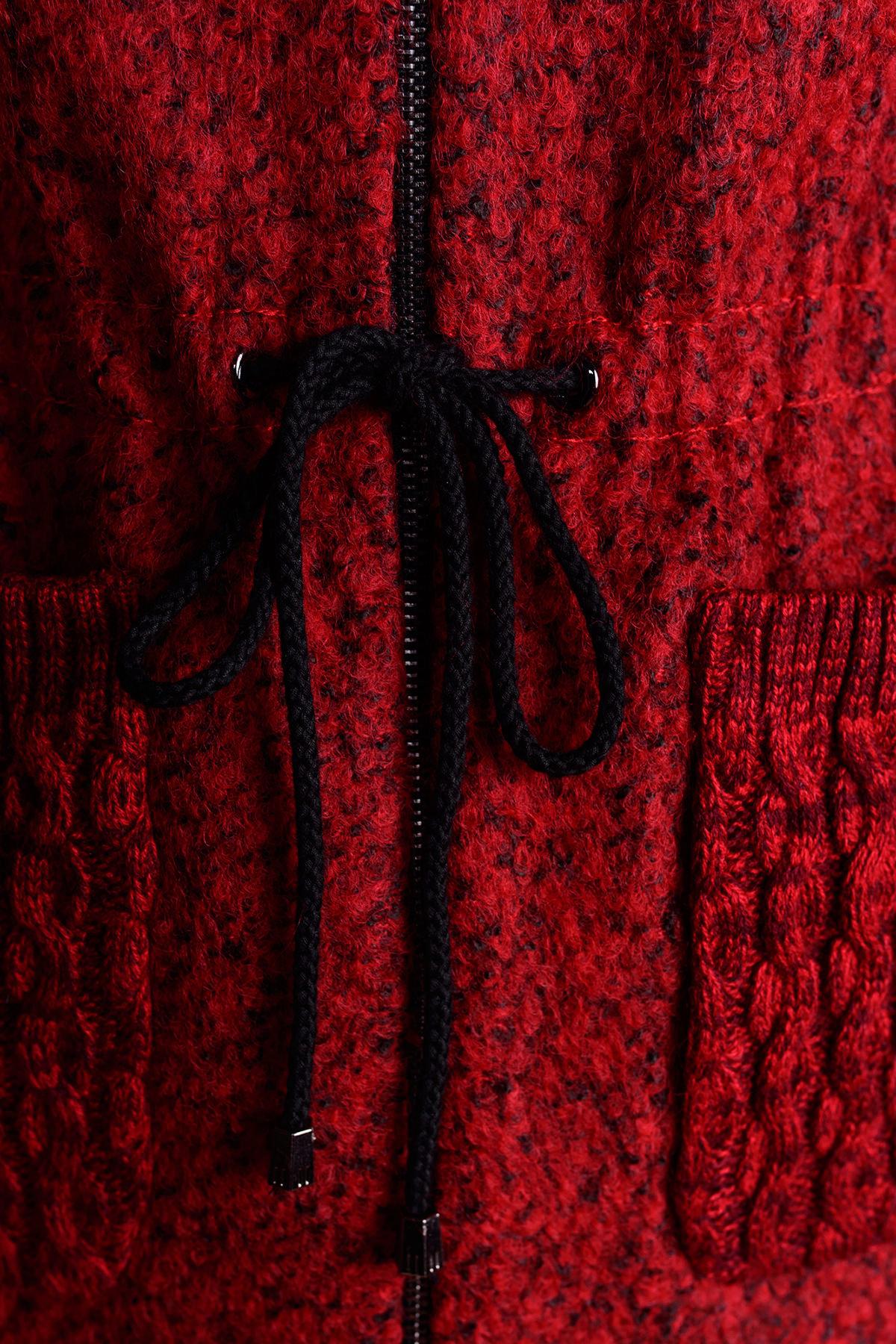 Пальто Старк 1091 АРТ. 9051 Цвет: Красный / черный - фото 4, интернет магазин tm-modus.ru