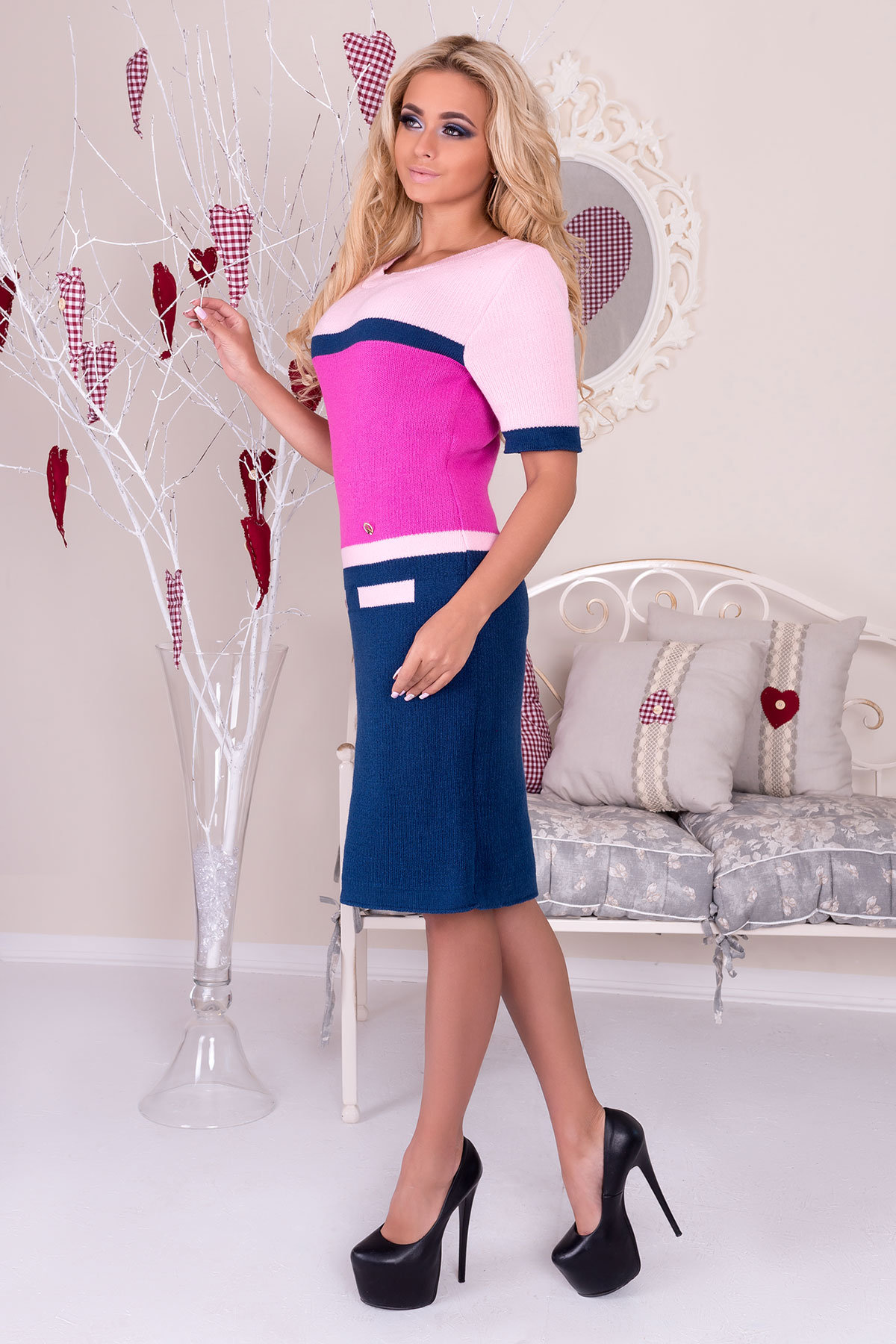 Платье Карамелька  АРТ. 9953 Цвет: Джинс/малина/розовый - фото 2, интернет магазин tm-modus.ru