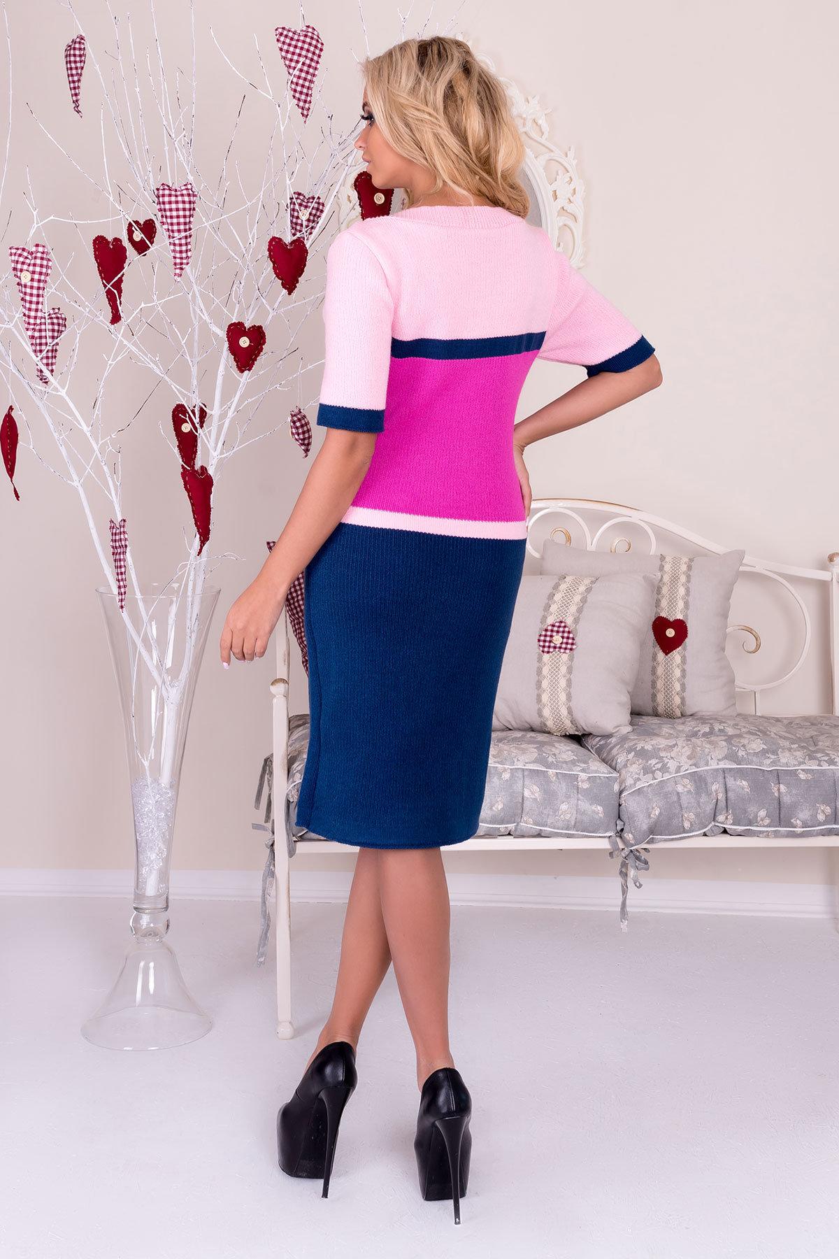 Платье Карамелька  АРТ. 9953 Цвет: Джинс/малина/розовый - фото 3, интернет магазин tm-modus.ru