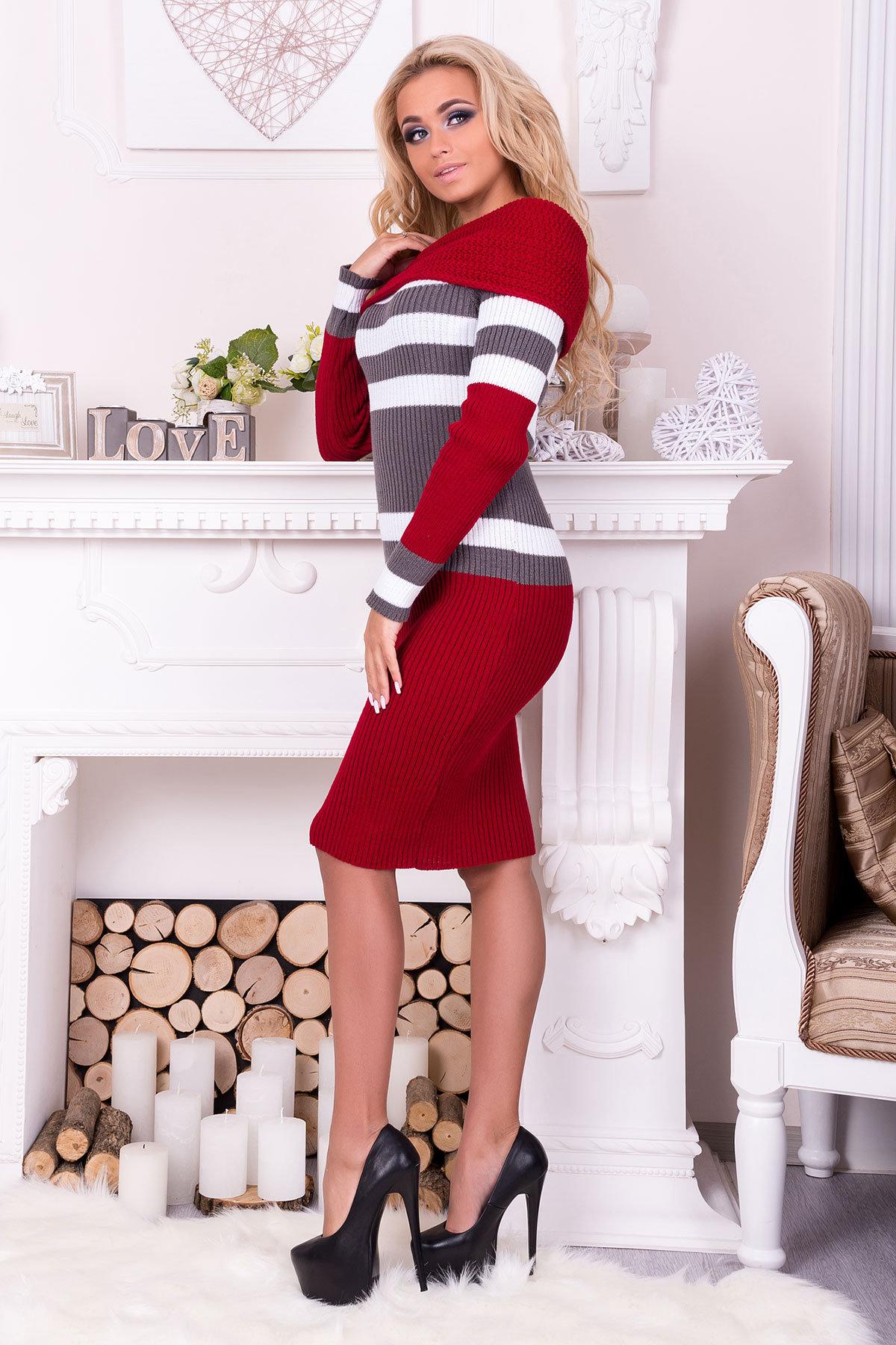 Платье Памела  АРТ. 9951 Цвет: Вишня/серый/белый - фото 2, интернет магазин tm-modus.ru