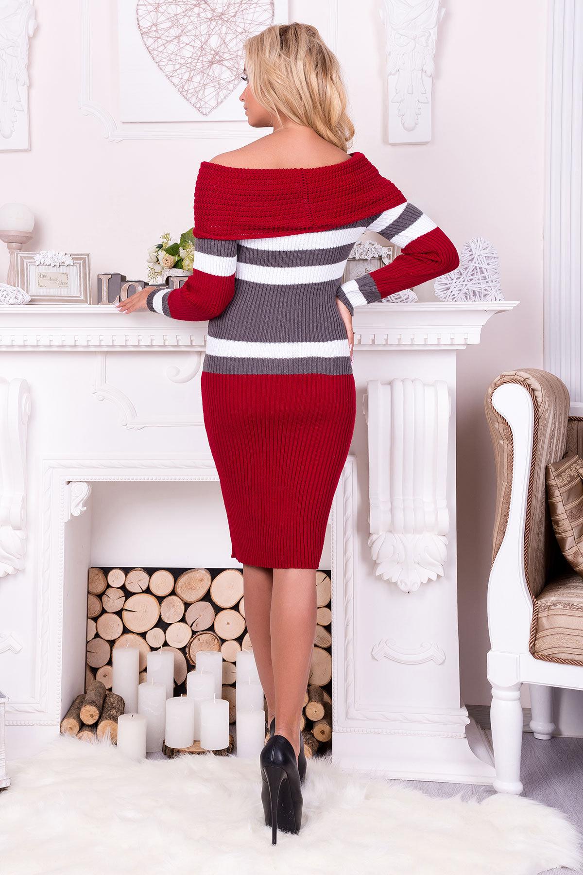 Платье Памела  АРТ. 9951 Цвет: Вишня/серый/белый - фото 3, интернет магазин tm-modus.ru