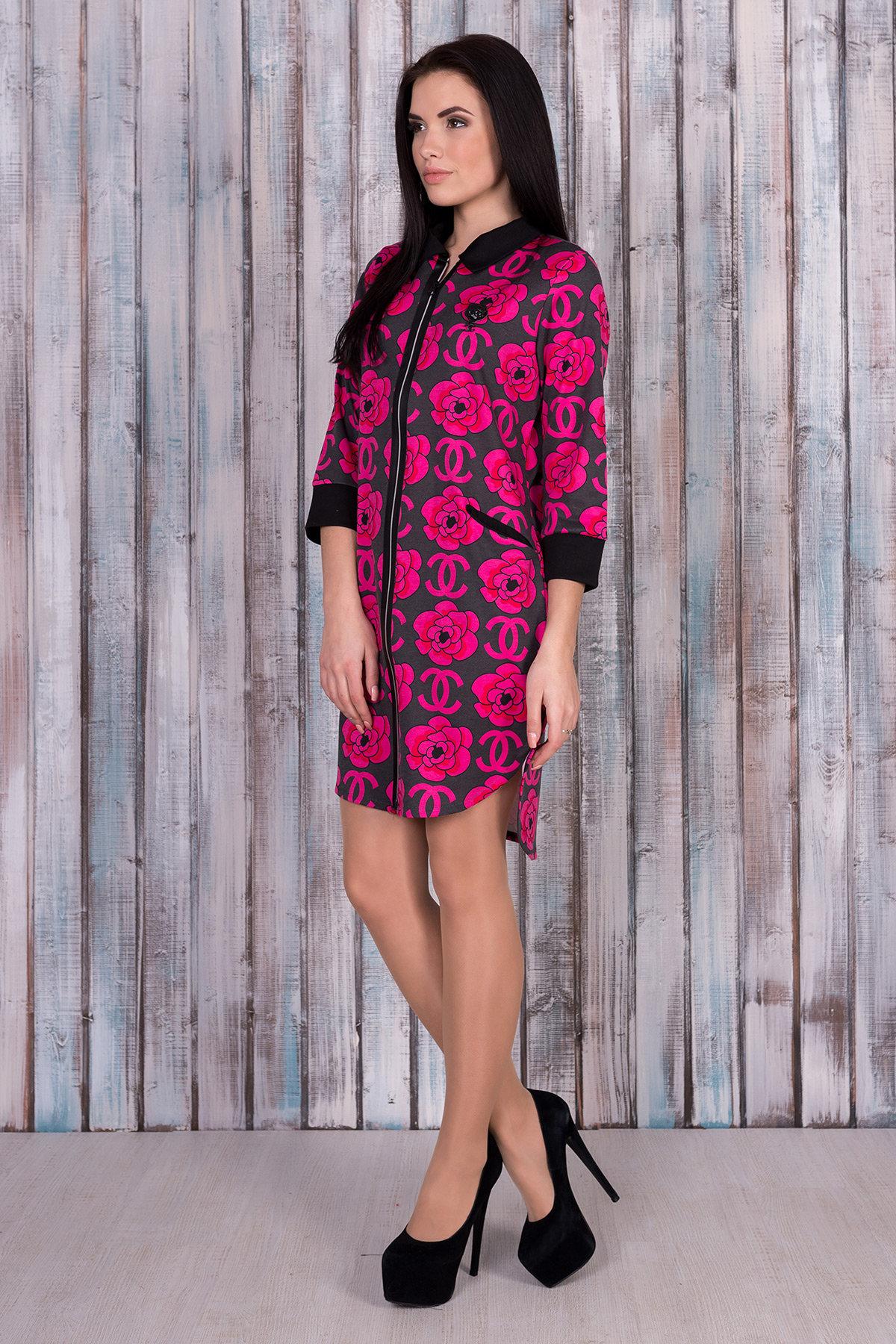 Платье 0059  Цвет: Тёмно-серый/розовый