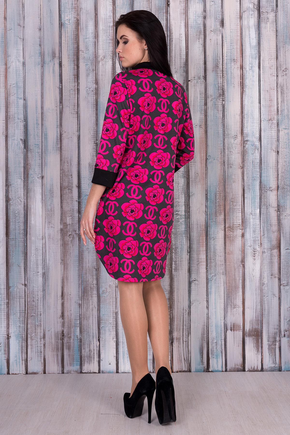 Платье 0059  АРТ. 10016 Цвет: Тёмно-серый/розовый - фото 3, интернет магазин tm-modus.ru