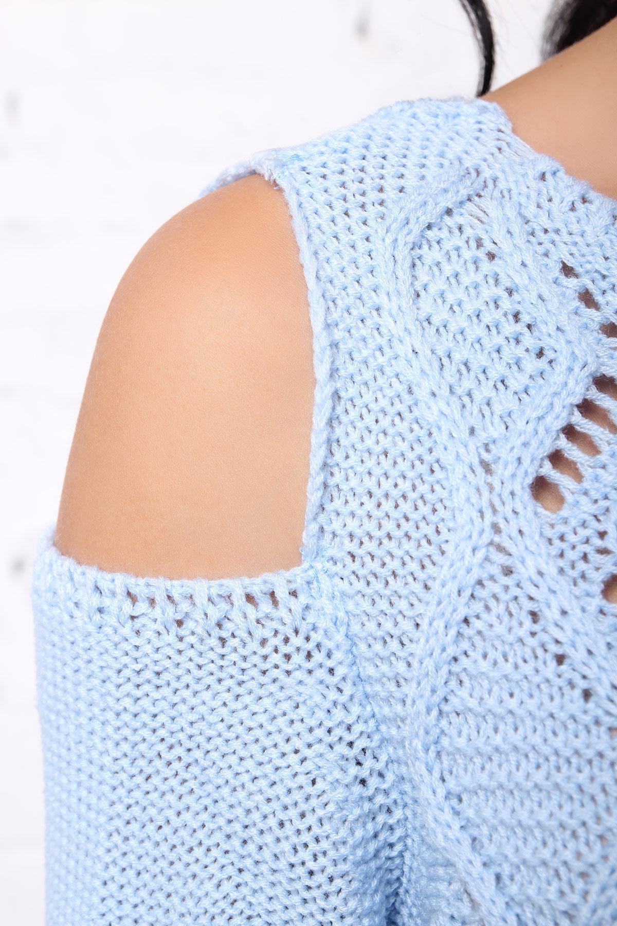 Свитер плечо Лало Цвет: Светло-голубой