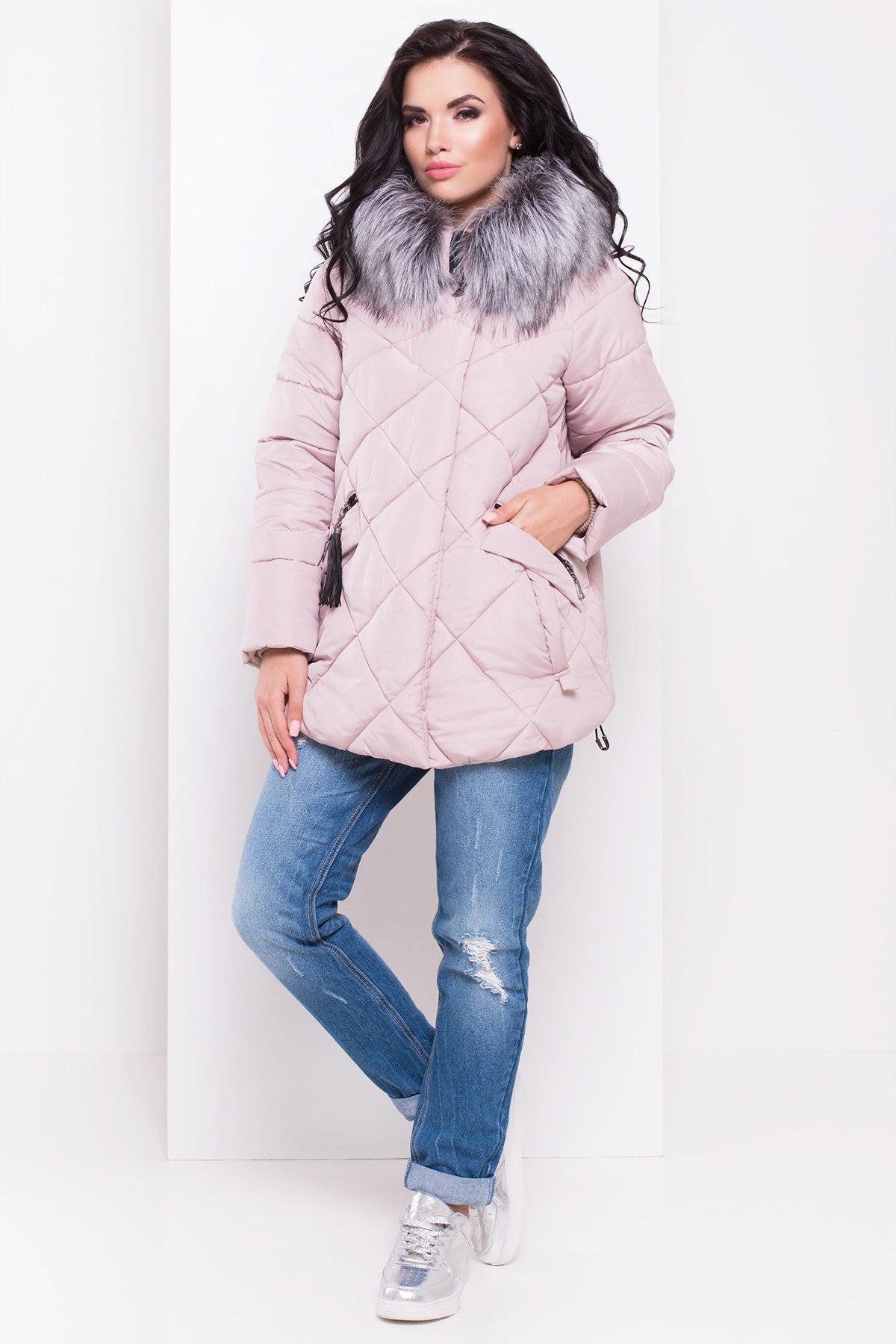пуховики женские с мехо Куртка на зиму со стежкой ромбами Лисбет 3253