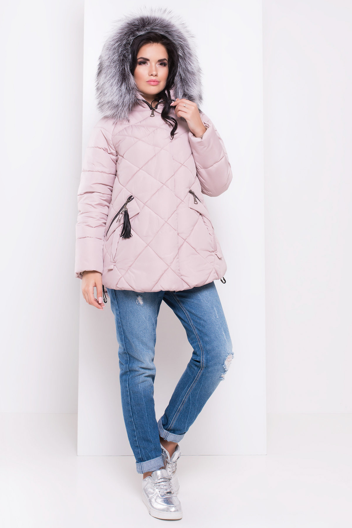 Куртка на зиму со стежкой ромбами Лисбет 3253 АРТ. 16729 Цвет: Серо-розовый - фото 2, интернет магазин tm-modus.ru