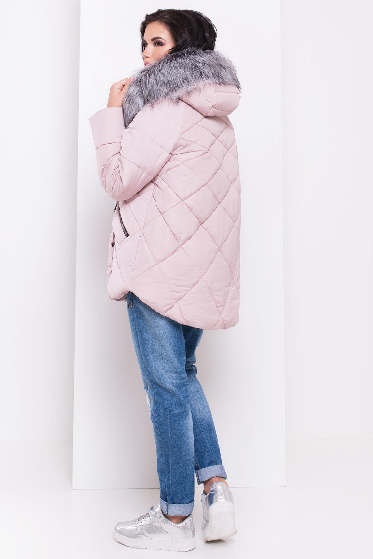 Куртка на зиму со стежкой ромбами Лисбет 3253 Цвет: Серо-розовый