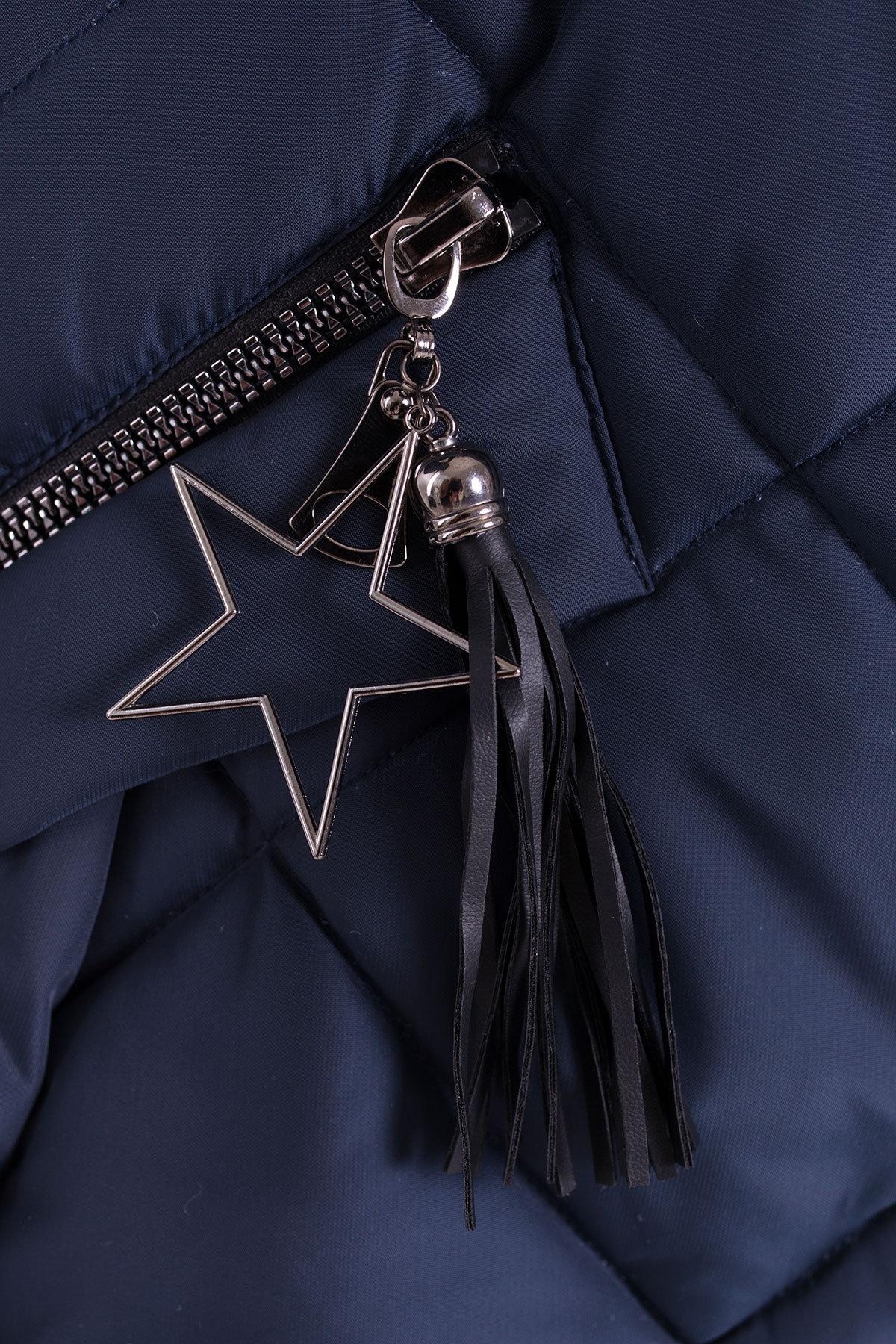 Куртка на зиму со стежкой ромбами Лисбет 3253 Цвет: Темно-синий