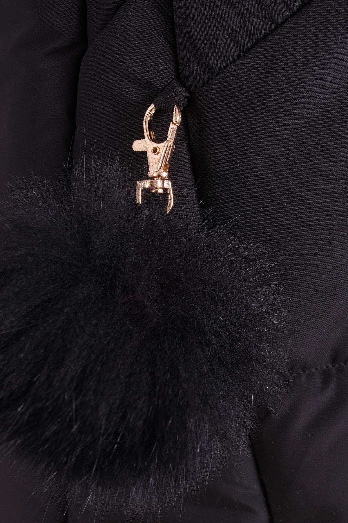 Пуховик с натуральным мехом песца Ари 3113 Цвет: Черный