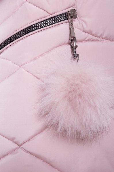Пуховик с капюшоном Ингрид 3267 Цвет: Серо-розовый