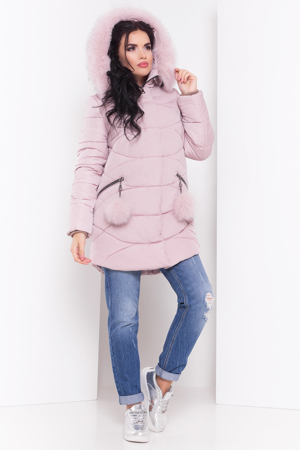Пуховик с капюшоном Ингрид 3267 АРТ. 16793 Цвет: Серо-розовый - фото 2, интернет магазин tm-modus.ru