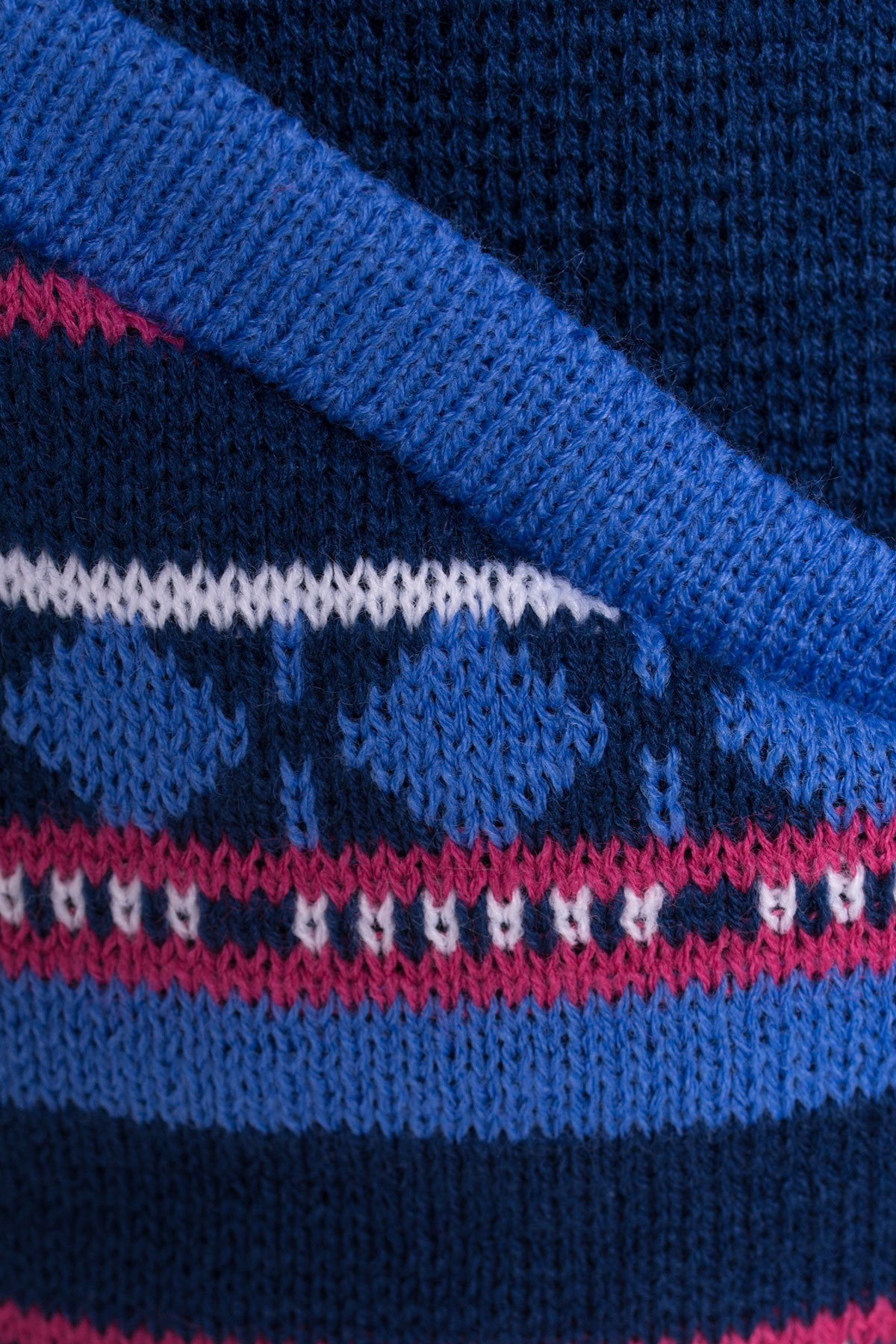Парка вязаная 3454 АРТ. 17698 Цвет: джинс/розовый - фото 4, интернет магазин tm-modus.ru
