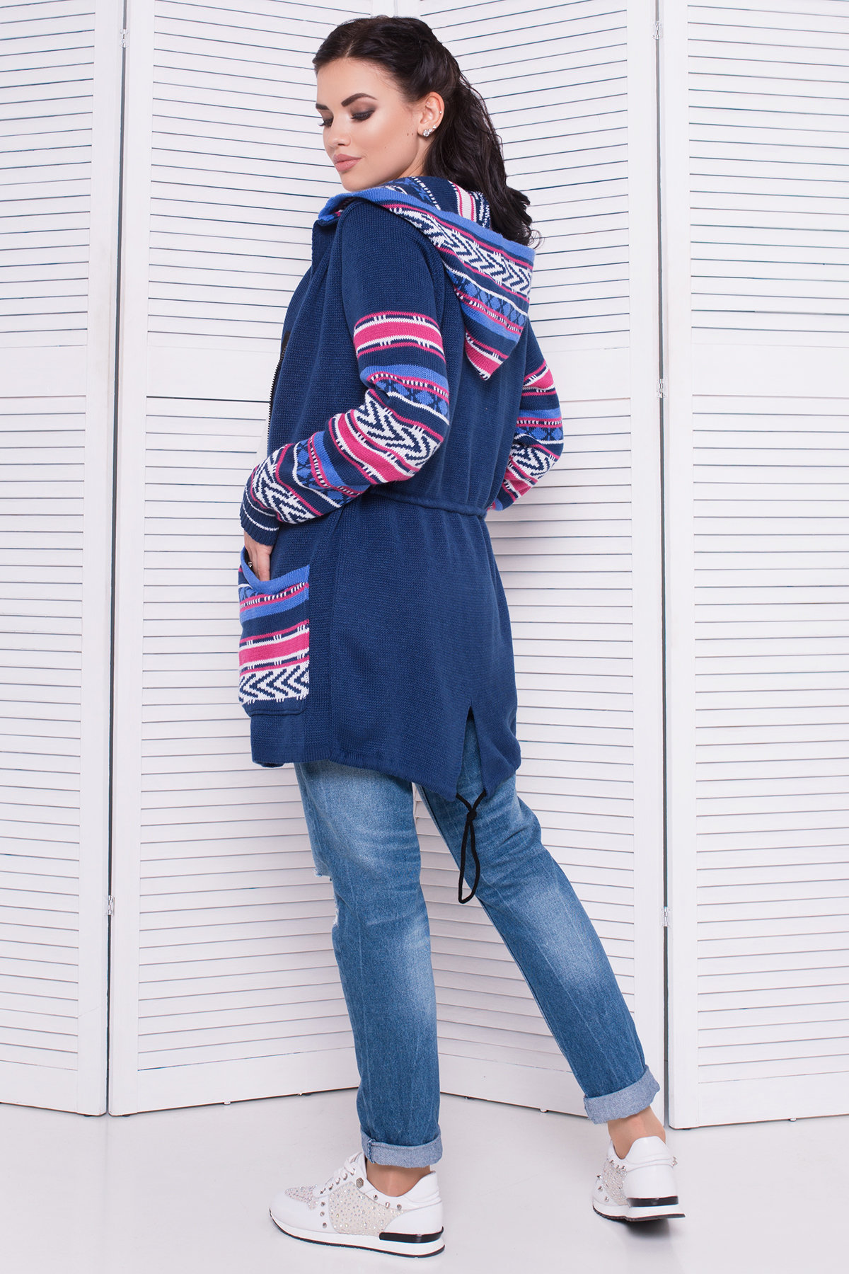Парка вязаная 3454 АРТ. 17698 Цвет: джинс/розовый - фото 3, интернет магазин tm-modus.ru