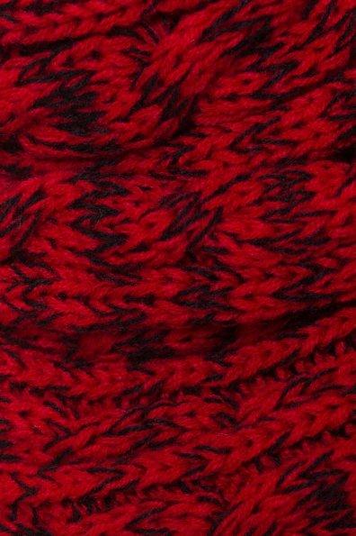 Шарф-хомут крупной вязки Цвет: Красный/черный косы, Косы